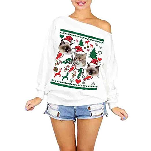 976976669c22 Amazon.com: DMZing Women Tops Blouse Pullover Shirt Casual Christmas Cute  Cat Santa Print Fashion Party Sexy Off Shoulder (White Cat): Kitchen &  Dining