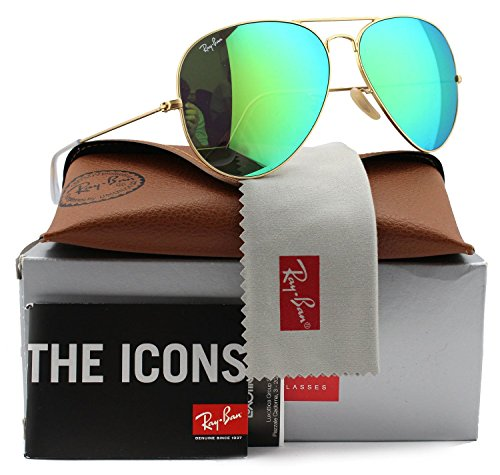 Ray-Ban RB3025 Small Aviator Sunglasses Matte Gold w/Green Mirror (112/19) 3025 55mm - Ray Mirror 3025 Authentic Sunglass Aviator Ban Gold Matte