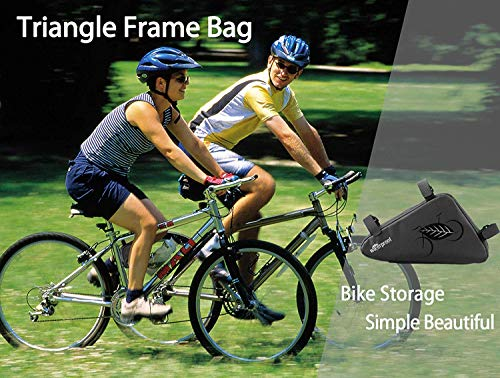 Bike Pouch, Water-Resistant Bicycle Frame Triangle Storage Bag, Cycling Accessories Pack with Plenty of Room for Phone, Wallet, Keys, Tools, Use for Road Bikes Mountain Commute Bikes