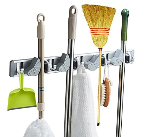 Mop and Broom Holder Wall Mounted Organizer with Towel Hooks, Home Storage Solutions for Kitchen, Closet, Garden, Garage and Shed Tools Organization (4 Position 5 Hooks, Grey)