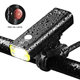 USB Rechargeable Bike Light,400 Lumens a Brighter Bicycle Light Wide & Long Cover Range – 85°and Free Rear LED Bicycle Light,2500mah Lithium Battery,4 Light Mode Options, Water Resistant IPX4 For Sale