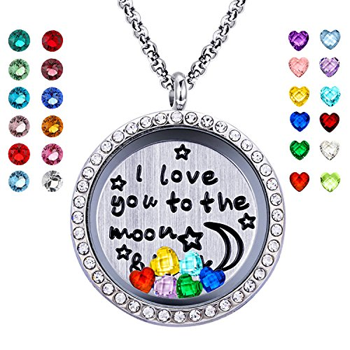- YOUFENG Floating Living Memory Locket Pendant Necklace Family Tree of Life Necklace All Birthstone Charms Include (Moon Back 24 Birthstones CZ Locket)