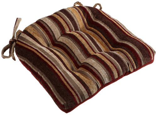 Brentwood Chenille Stripe Chairpad, Red (Chair Cushions Brentwood)