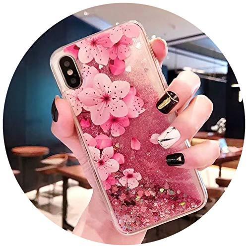 Liquid Water Case for iPhone 7 Glitter Flamingo