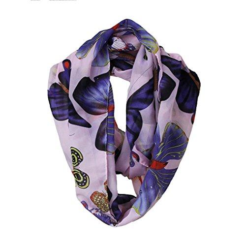 Veenajo Womens Colorful Printed Butterflies Fashion Infinity Loop Scarf
