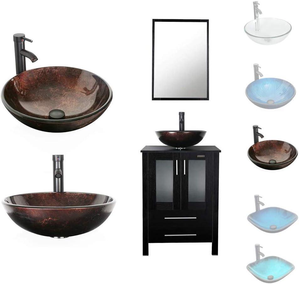 Kitchen Bath Fixtures 2 Door 2 Drawer Single Espresso Ocean Blue Glass Vessel Luckwind Bathroom Vanity Vessel Sink Combo 24 Cabinet Stand Mirror Artistic Glass Round Vessel Sink Faucet