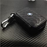 Moonet Replacement Remote Head Ignition Key Keyless Entry Combo Diamond Black Leather Key Holder Rotatable For BMW With BMW Logo