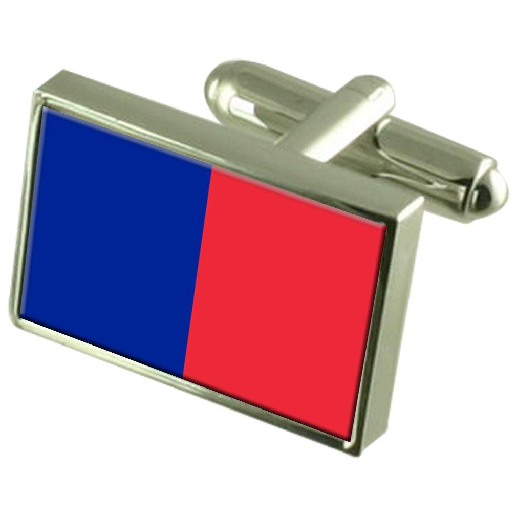 Paris City France Flag Cufflinks Engraved Box