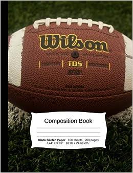 Amazon Com Football Composition Notebook Graph Paper 4x4 Quad