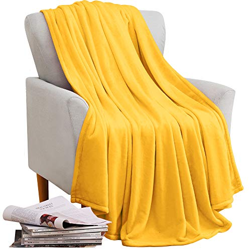 - KAWAHOME Fleece Blanket Lightweight Fuzzy Microfiber Plush Throw Blankets All Season for Couch Bed Sofa Throw Size 50 X 60 Inches Yellow