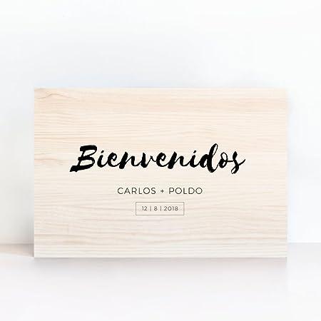 Cartel De Madera Personalizado Bienvenidos Minimal - Una ...