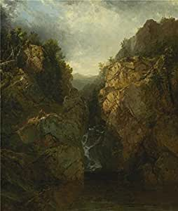 Cotton Canvas ,the Vivid Art Decorative Prints on Canvas of oil painting 'John Frederick Kensett,A Woodland Waterfall,1855-1865', 18x21 inch / 46x54 cm is best for Hallway decor and Home artwork and Gifts
