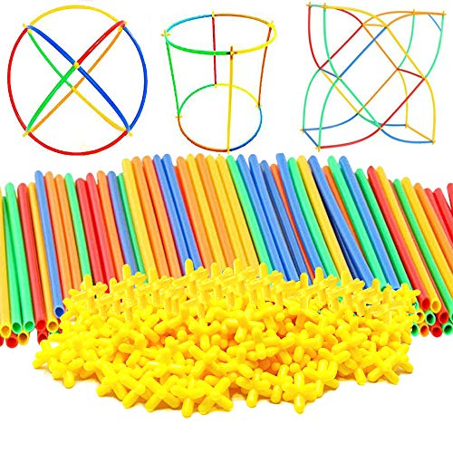 (AveryLu Building Construction Toys 300 pcs- Safe and Fun Straws and Connectors Set- Fun- Educational- Safe for Kids- Develops Motor Skills-Construction Blocks- Best Gift for Boys and)