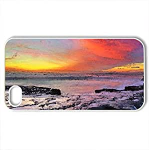 gorgeous sky at sunset over seashore - Case Cover for iPhone 4 and 4s (Sky Series, Watercolor style, White)