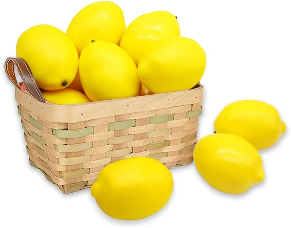 BigOtters 12pcs Fake Lemons,Faux Lemon Plastic Artificial Yellow Lemon for Fake Fruit Bowl,Home Kitchen Table Cabinet Party Decor Photography Prop