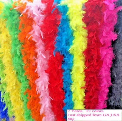 Chandelle Boa Fluffy Feather Trim 40g 6 feet 2 Yards Long Wedding Party Supply (Green) neKE01 ()