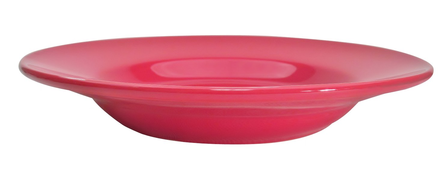 CAC China LV-120-R 12-Inch Las Vegas Rolled Edge Stoneware Pasta Bowl, 26-Ounce, Red, Box of 12