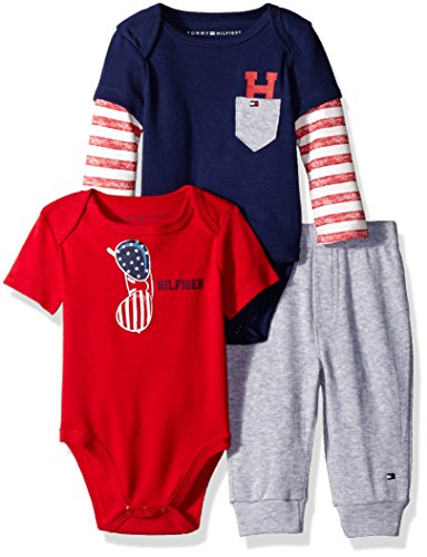 Tommy Hilfiger Baby Boys' Two Bodysuits and Pant Set, Navy, 6-9 Months