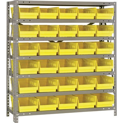 Quantum Storage Steel Shelving System with 30 Bins - 36in.W x 12in.D x 39in.H Rack Size, Yellow, Model# 1239-102Y by Quantum