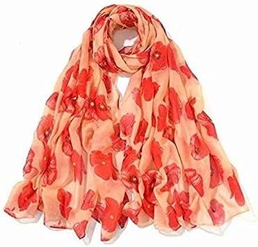 warm 90 x 180 cm beige mit Blumenmotiv HMILYDYK Damen Schal mit Mohnblumen-Motiv