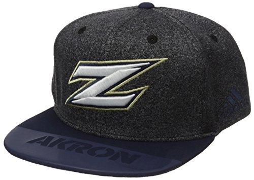 - adidas NCAA Akron Zips Adult Men Player Flat Brim Snapback, One Size, Black