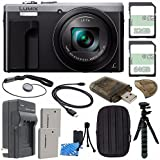 Panasonic Lumix DMC-ZS60 Digital Camera (Silver) + 32GB + 64GB + Rechargable Li-Ion Battery + Small Carrying Case + Charger + HDMI Cable + Card Reader + Small Tripod Bundle
