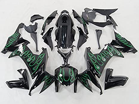 Amazon.com: Moto Onfire Green Flame Black Fairings For 2008 ...