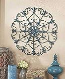 rustic chic decor Teal Turquoise Fleur De Lis Metal Vintage Style Ornate Medallion Iron Wall Sculpture Plaque Decoration