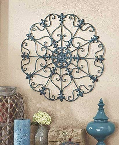 (Teal Turquoise Fleur De Lis Metal Vintage Style Ornate Medallion Iron Wall Sculpture Plaque Decoration)