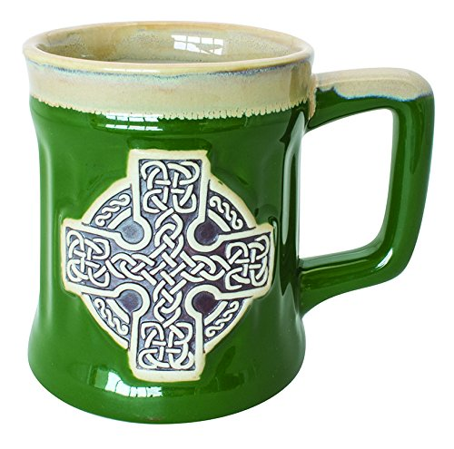 Irish Designed Pottery Mug With A Celtic Cross design, Green Colour