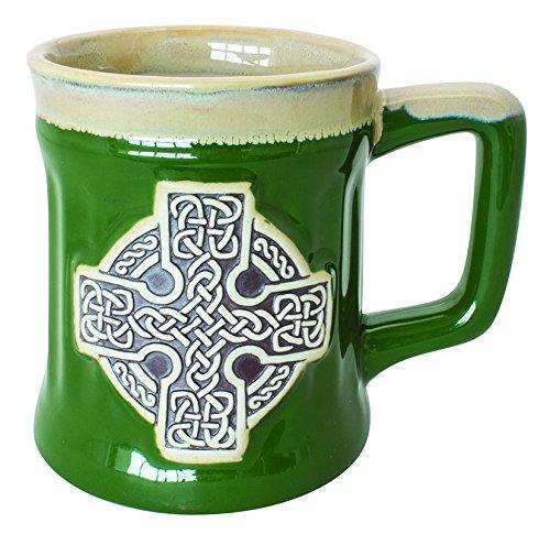 Irish Designed Pottery Mug With A Celtic Cross design, Green ()