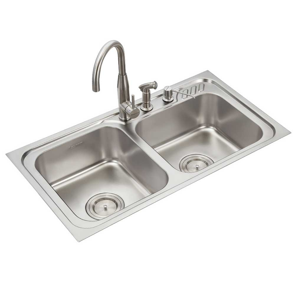 Anupam stainless steel kitchen sink ls337ex 915 x 510 x 200 mm 36 x 20 x 8 inch double square bowl 304 grade satin matt finish amazon in home