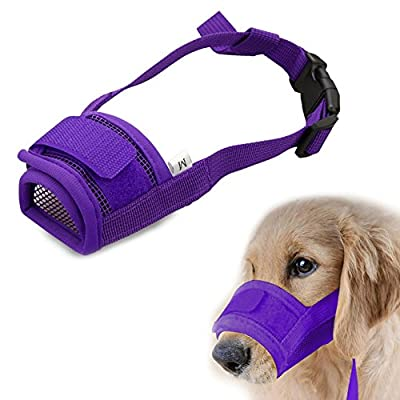 Bluecookies Mesh Dog Muzzle Breathable Adjustable with Velcro for Biting Chewing Barking