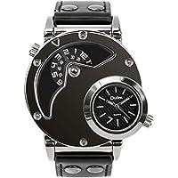 Aposon, reloj analógico de hombre de cuarzo con doble horario, reloj de pulsera con diseño doble único, con carcasa de acero, malla cómoda de cuero, con doble zona horaria, color negro