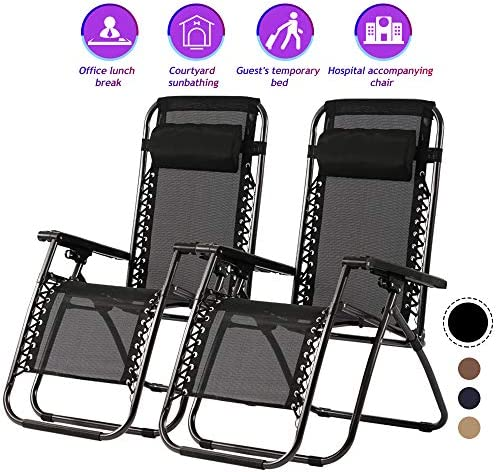 Zero Gravity Chair Patio Lounge Recliners Set of 2 Adjustable Lounge Outdoor Chairs with Pillows for Backyard, Poolside, Garden, Pool, Beach, Lawn, Deck,Yard – Black