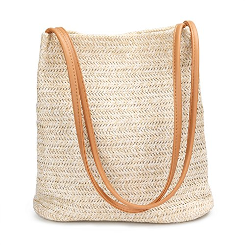 Aiteen Women Straw Shoulder Bag with Magnetic Buckle & Faux Leather Handle