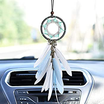 Dremisland Handmade Grey Feather Dream Catcher Car Interior Rearview Pendant Charm Car Hanging(Gray Circle)