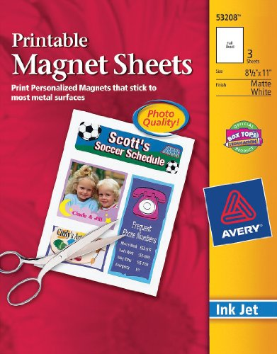 Avery Ink Jet Magnet Sheets, Matte White, 8-1/2-Inch by 11-Inch, Pack of 3 (Avery Dennison White Inkjet)