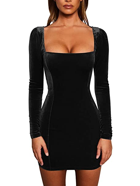 square neck long sleeve velvet dress