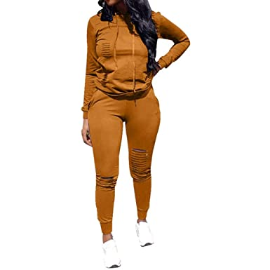 502345b4eab 2 Piece Tracksuits for Women - Ripped Hoodies Pullover Tops Sweatpants Plus  Size Sexy Outfits Jumpsuits