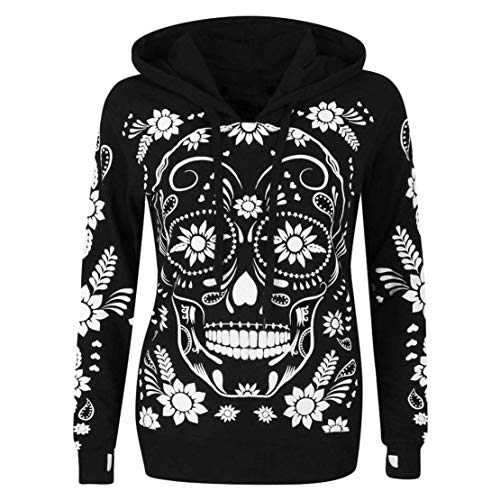 Mikey Store Women Long Sleeve Skull Print Hooded Sweatshirt Pullover
