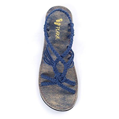 Color Blue Woman Sandal (Plaka Flat Summer Sandals for Women Blue Size 10 Peacock)