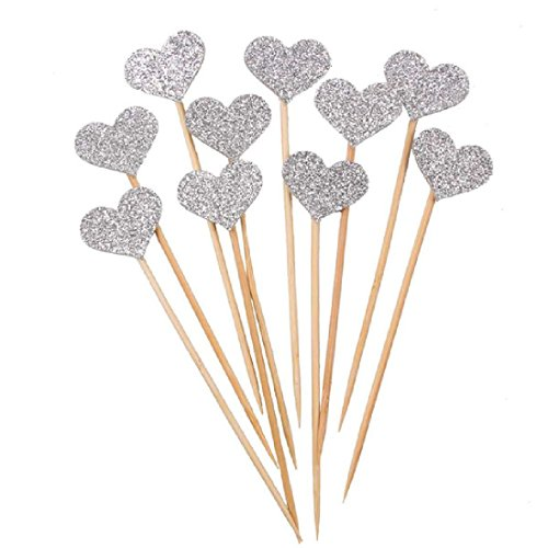 40pcs Love Heart Cupcake Topper Picks Baby Shower Kids Favor (Halloween Popcorn Balls Desserts)