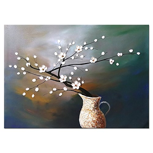 Wieco Art Plum Blossom Floral Oil Paintings Canvas Wall Art Modern Contemporary Abstract White Flowers Artwork ornament Ready to Hang for Living Room Bedroom Kitchen Home Decorations Wall -