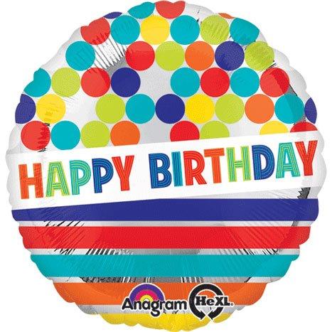 Anagram International Hx Happy Birthday Dots//Stripes on Silver Balloon Multicolor