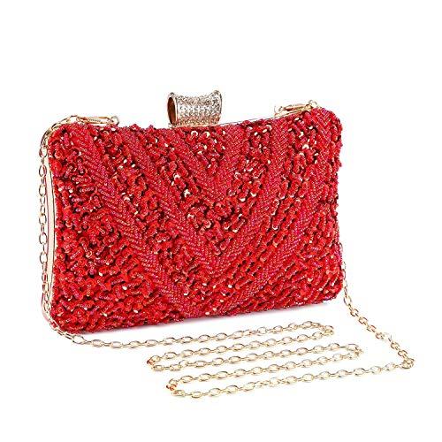 - UBORSE Women Vintage Clutch Wedding HandBag Bridal Sequins Beaded Evening Bags Banquet Party Purse Wine Red