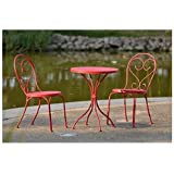 Outdoor Bistro Set - Table & 2 Chairs Small Cafe Style in Red Heavy Duty Steel