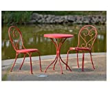 Outdoor Bistro Set – Table & 2 Chairs Small Cafe Style in Red Heavy Duty Steel Review