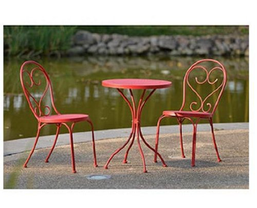 Awesome Amazon.com : Outdoor Bistro Set   Table U0026 2 Chairs Small Cafe Style In Red  Heavy Duty Steel : Patio, Lawn U0026 Garden
