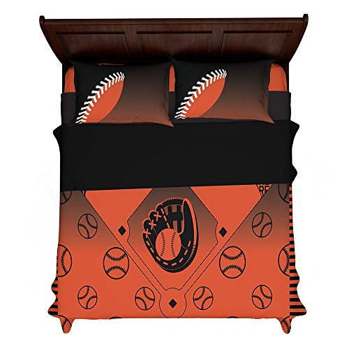 CreateCustomShop Customizable Baltimore Baseball 3rd Generation Fan Made Duvet Bedding Set with Pillowcases (King (2 Shams) 104